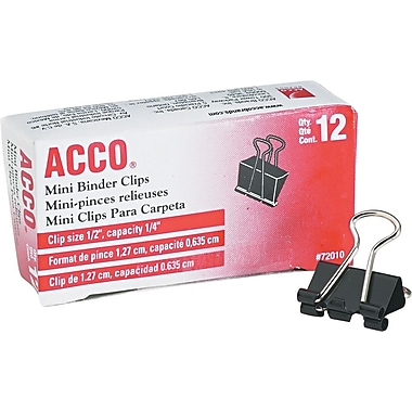 Acco® ACC72010 Binder Clip, Mini, 1/4