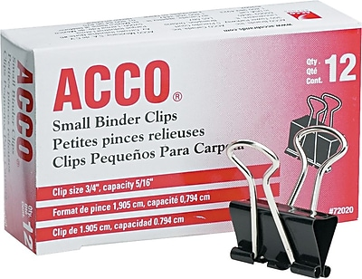 Acco 72020 Binder Clip Small 5 16 Capacity Black Silver 12 PK