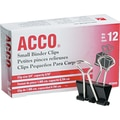 Acco® 72020 Binder Clip, 5/16in. Capacity, Black/Silver 12 PK