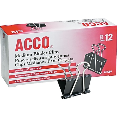 Acco® A7072050 Binder Clip, 5/8in. Capacity, Black/Silver, 12 PK