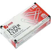 ACCO Economy Jumbo Paper Clips, Smooth Silver finish, Jumbo Size, 100/Bx