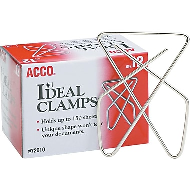 ACCO Ideal Paper Clamps (Butterfly Clamps), Silver, Large, 12/Bx