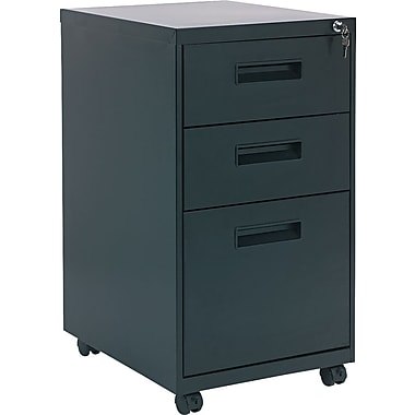 Alera 19in. Deep, 3  Drawer Mobile Vertical File Cabinet, Black