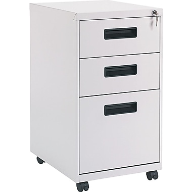 Alera 19in. Deep, 3  Drawer Mobile Vertical File Cabinet, Light Gray