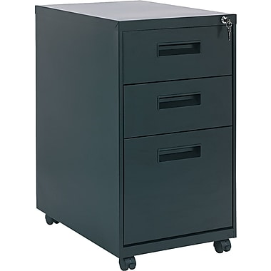 Alera 23in. Deep, 3  Drawer Mobile Vertical File Cabinet, Black