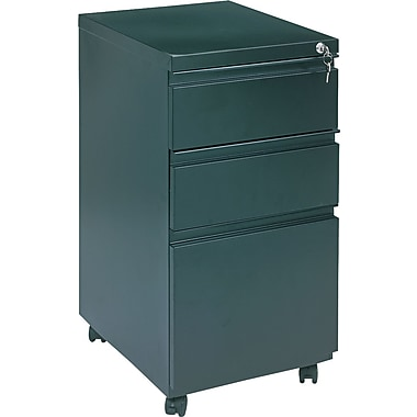 Alera 19in. Deep, 3 Drawer Full Length Pull Mobile Vertical File Cabinet, Black