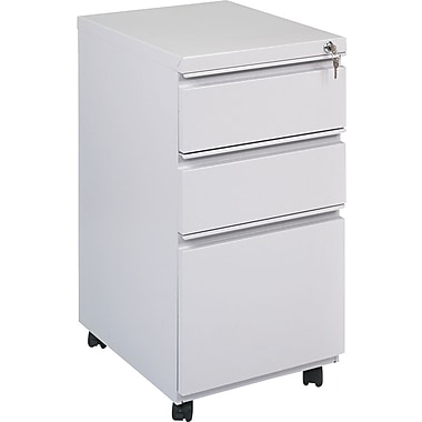 Alera 19in. Deep, 3 Drawer Full Length Pull Mobile Vertical File Cabinet, Light Gray