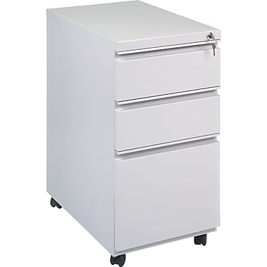 Alera 23in. Deep, 3 Drawer Full Length Pull Mobile Vertical File Cabinet, Light Gray