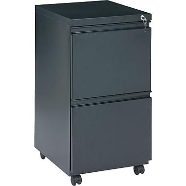 Alera 19in. Deep, 2 Drawer Full Length Pull Mobile Vertical File Cabinet, Black