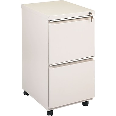 Alera 19in. Deep, 2 Drawer Full Length Pull Mobile Vertical File Cabinet, Putty