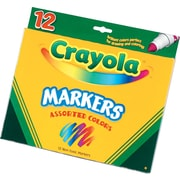 Crayola® Classic Markers, Broad Line, 12/Box