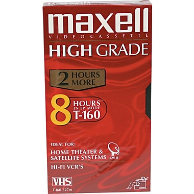 Maxell VHS Video Cassettes, Premium Grade, 8-Hour