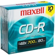 Maxell 10/Pack 700 MB CD-R, Slim Jewel Cases
