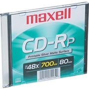Maxell CD-R 80 Minute (700MB) Inkjet Printable Silver Matte with Slim Jewel Case (48x), 1/Pk