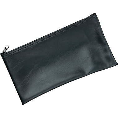 MMF Industries™ Zipper-Top Black Leatherette Wallet 6in. x 11in.