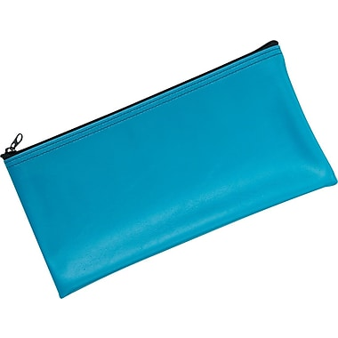 MMF Industries™ Zipper-Top Blue Leatherette Wallet, 6in. x 11in.