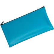 "MMF Industries™ Zipper-Top Blue Leatherette Wallet, 6"" x 11"""