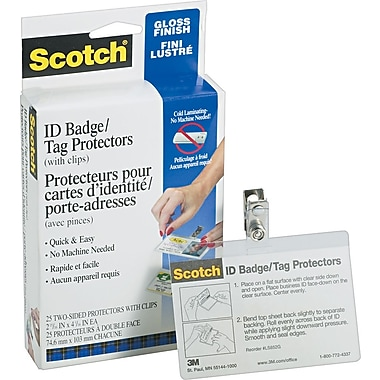 Scotch ID Tag Size Self-Adhesive Laminating Pouches, 12.5 mil, 25 pack