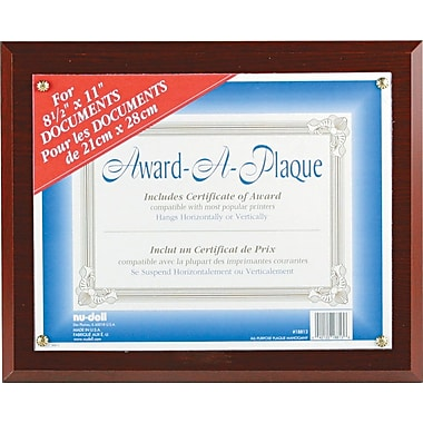 NuDell™ Economical Award Plaque,Mahogany, 8-1/2