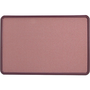 Quartet® 3' x 2' Contour® Mauve Fabric Bulletin Board with Burgundy Plastic Frame