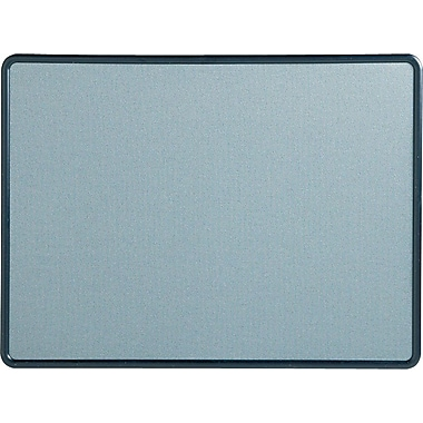 Quartet® 4' x 3' Contour® Light Blue Fabric Bulletin Board with Navy Plastic Frame