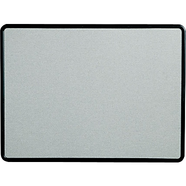 Quartet® 4' x 3' Contour® Gray Fabric Bulletin Board with Graphite Plastic Frame