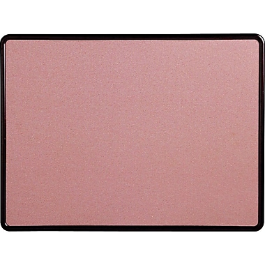 Quartet® 4' x 3' Contour® Mauve Fabric Bulletin Board with Burgundy Plastic Frame