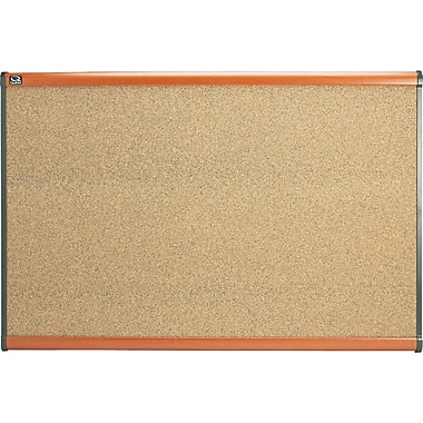 Quartet® 35in. x 24in. Prestige® Colored Cork Bulletin Board with Light Cherry Finish Frames