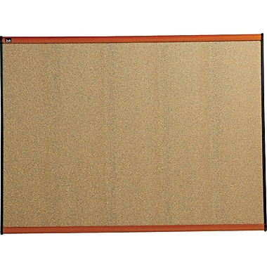 Quartet® 47in. x 35in. Prestige® Colored Cork Bulletin Board with Light Cherry Finish Frames
