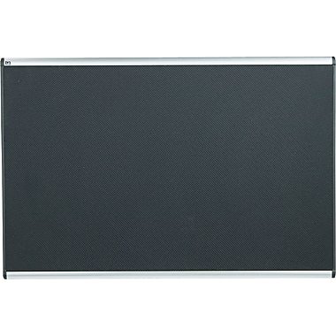 Quartet® 6' x 4' Prestige® Black Embossed Foam Bulletin Board with Aluminum Frames