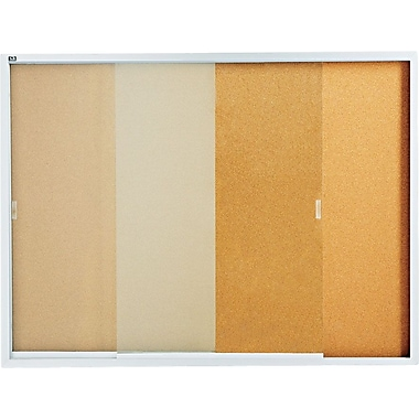 Quartet® Enclosed Cork Bulletin Boards with Aluminum Frame and Sliding Doors