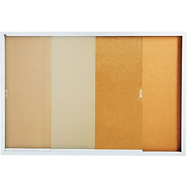 Quartet® 6' x 4' Enclosed Cork Bulletin Board with Aluminum Frame and Sliding Doors