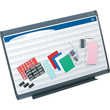 Quartet® 3' x 2' Prestige Plus® Total Erase® Porcelain Planning System with 2in. x 1in. Grid Pattern
