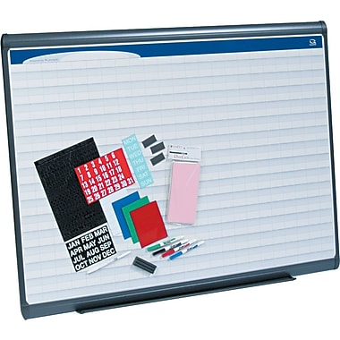 Quartet® 4' x 3' Prestige Plus® Total Erase® Porcelain Planning System with 2in. x 1in. Grid Pattern