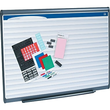 Quartet® 4' x 3' Prestige Plus® Total Erase® Porcelain Planning System with Horizontal Lines