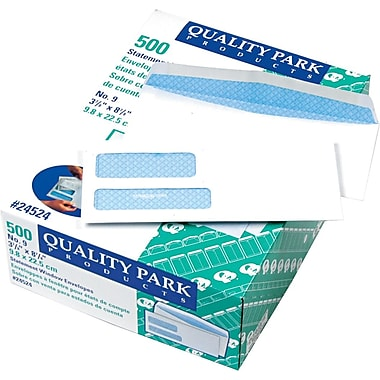Quality Park Gummed Security Tinted Double Window #9 Envelopes, 3 7/8