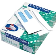 "Quality Park Gummed Security Tinted Double Window #8 5/8 Envelopes, 3 5/8"" x 8 5/8"", White, 500/Bx"