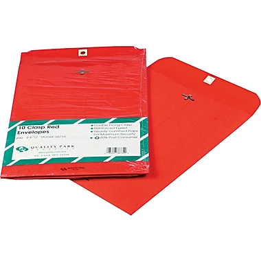 Quality Park 9in. x 12in. Red Clasp Envelopes, 10/Pack