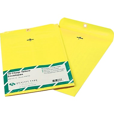 Quality Park 9in. x 12in. Yellow Clasp Envelopes, 10/Pack