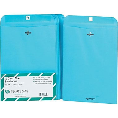 Quality Park 9in. x 12in. Blue Clasp Envelopes, 10/Pack