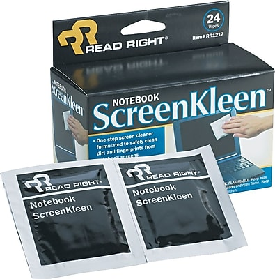 Read Right Laptop ScreenKleen, 24 Wipes/Bx