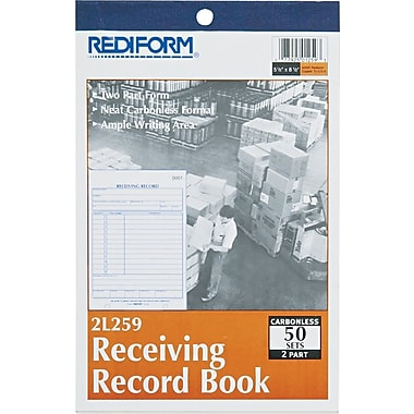 Rediform Carbonless Receiving Record Books, 5-1/2in. x 7-7/8in., 2 Part