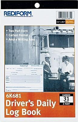 Rediform Driver s Daily Log Book 2 Part Carbon 5 1 2 x 7 7 8 31 Sets per Book