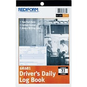"Rediform Driver's Daily Log Book, 2 Part Carbon, 5 1/2"" x 7 7/8"", 31 Sets per Book"