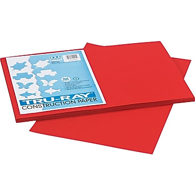 Tru-Ray® Sulphite Construction Paper, 12in. x 18in., Holiday Red, 50 Sheets