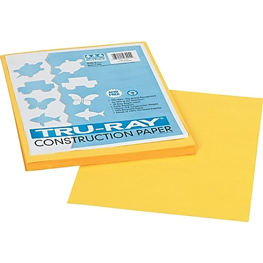 Tru-Ray® Sulphite Construction Paper, 9in. x 12in., Yellow, 50 Sheets