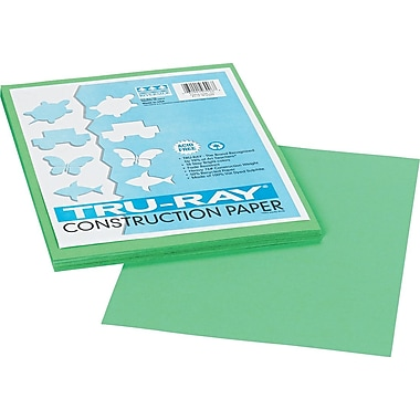 Tru-Ray® Sulphite Construction Paper, 9in. x 12in., Festive Green, 50 Sheets