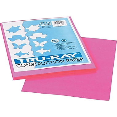 Tru-Ray® Sulphite Construction Paper, 9in. x 12in., Shocking Pink, 50 Sheets