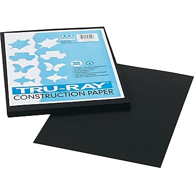 Tru-Ray® Sulphite Construction Paper, 9in. x 12in., Black, 50 Sheets