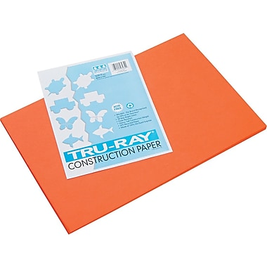 Tru-Ray® Sulphite Construction Paper, 12in. x 18in., Orange, 50 Sheets